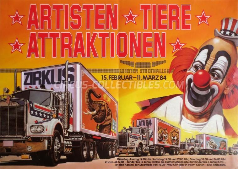 Artisten-Tiere-Attraktionen Circus Poster - Austria, 1984
