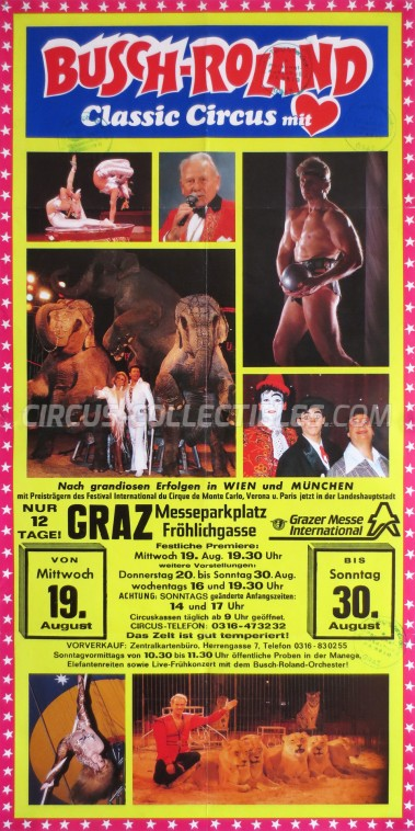 Busch-Roland Circus Poster - Germany, 1992