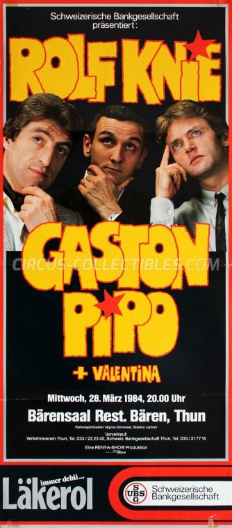 Rolf Knie, Gaston, Pipo + Valentina Circus Poster - Switzerland, 1984