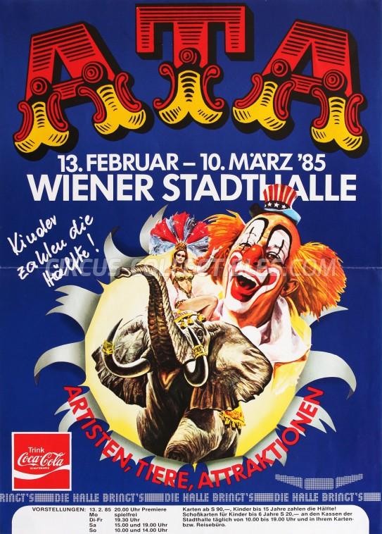 Artisten-Tiere-Attraktionen Circus Poster - Austria, 1985