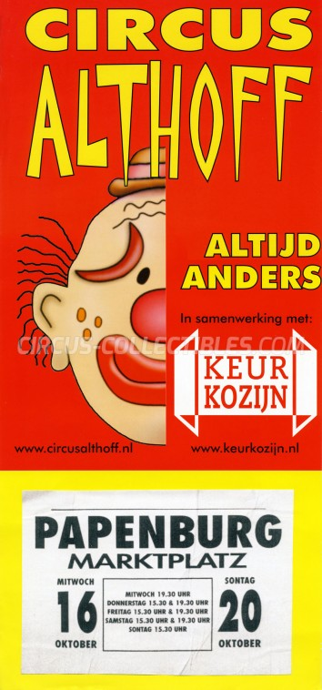 Althoff Circus Poster - Netherlands, 2002