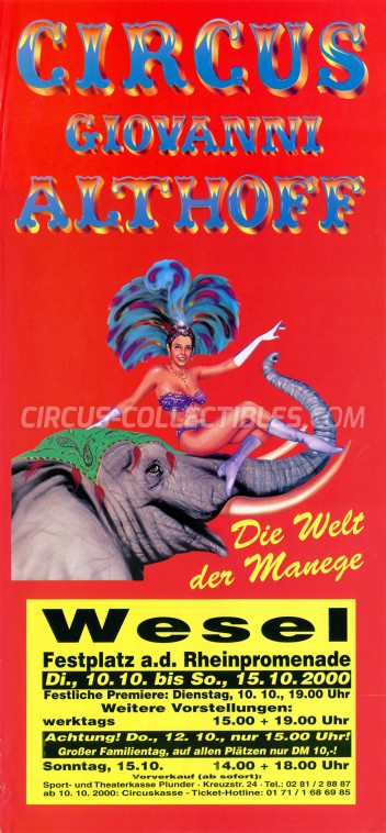 Giovanni Althoff Circus Poster - Germany, 2000