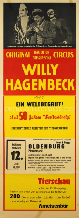 Willy Hagenbeck Circus Poster - Germany, 1963