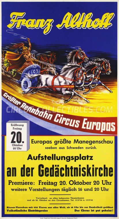 Franz Althoff Circus Poster - Germany, 1961
