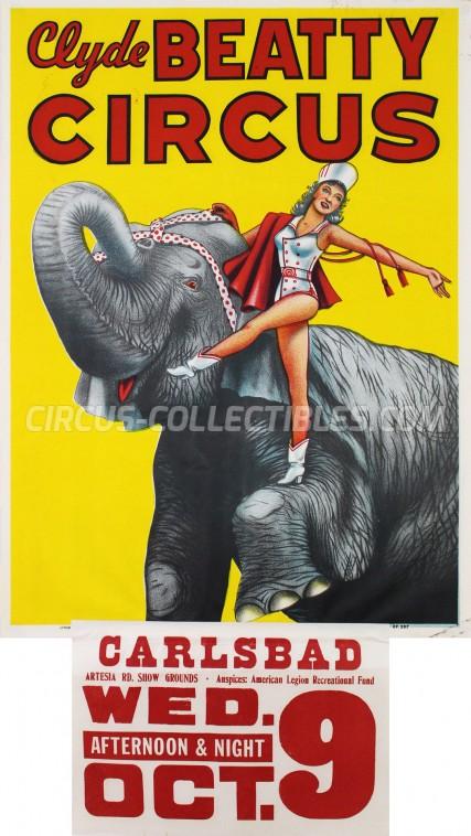 Clyde Beatty Cole Bros. Circus Circus Poster - USA, 1957