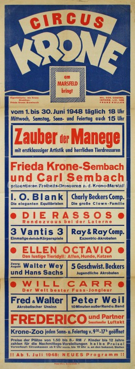 Krone Circus Poster - Germany, 1948