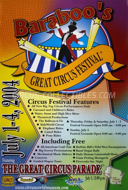 Baraboo's Great Circus Festival Circus Poster - USA, 2004