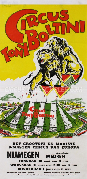 Toni Boltini Circus Poster - Netherlands, 1961