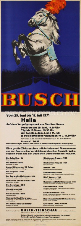 Busch Circus Poster - Germany, 1971