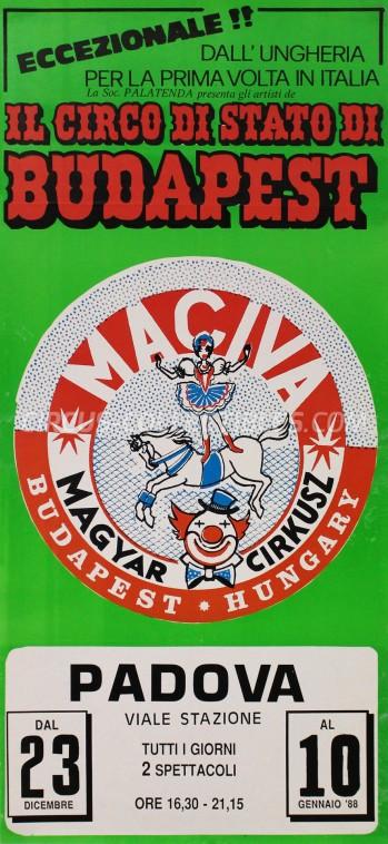 Circo di Stato di Budapest Circus Poster - Italy, 1987