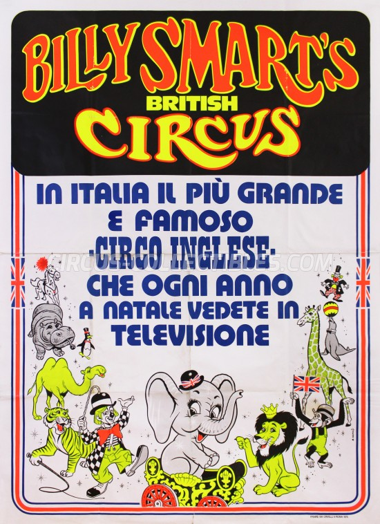 Billy Smart's Circus Poster - Italy, 1975