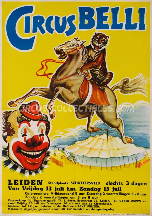 Belli Circus Poster - Netherlands, 1962