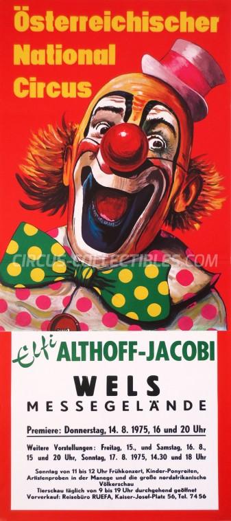 Elfi Althoff-Jacobi Circus Poster - Austria, 1975