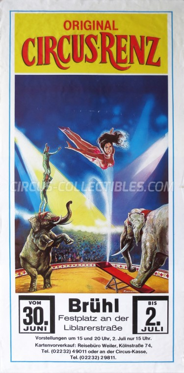 Renz Circus Poster - Germany, 1987