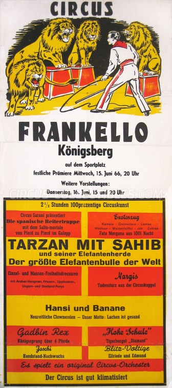 Frankello Circus Poster - Germany, 1966