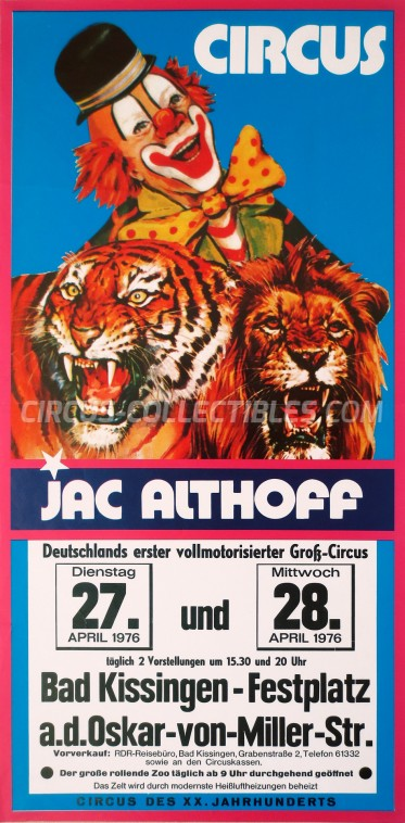 Jac Althoff Circus Poster - Germany, 1976