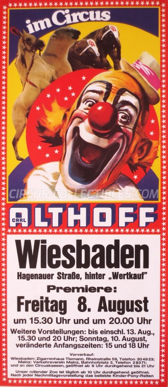 Carl Althoff Circus Poster - Germany, 1975