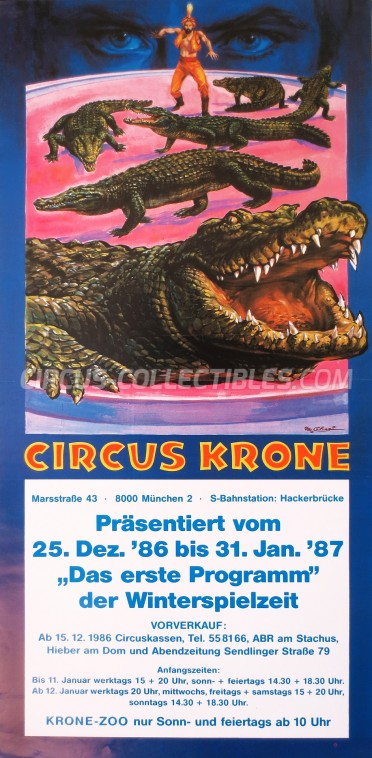 Krone Circus Poster - Germany, 1986