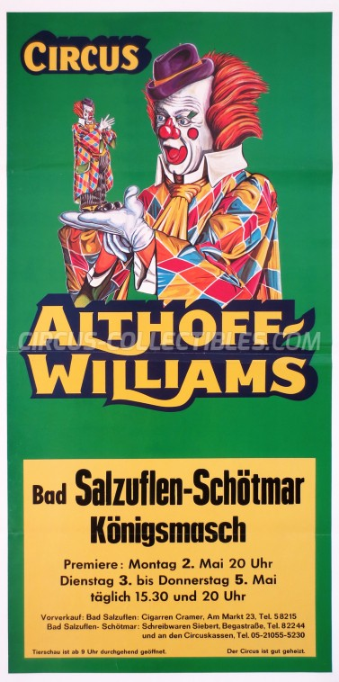 Althoff-Williams Circus Poster - Germany, 1977