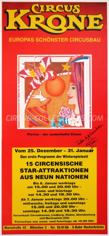 Krone Circus Poster - Germany, 1987