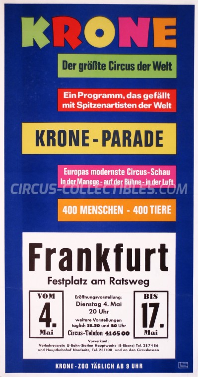 Krone Circus Poster - Germany, 1976