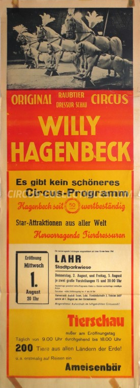 Willy Hagenbeck Circus Poster - Germany, 1962