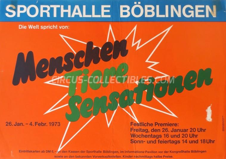 Menschen Tiere Sensationen Circus Poster - Germany, 1973
