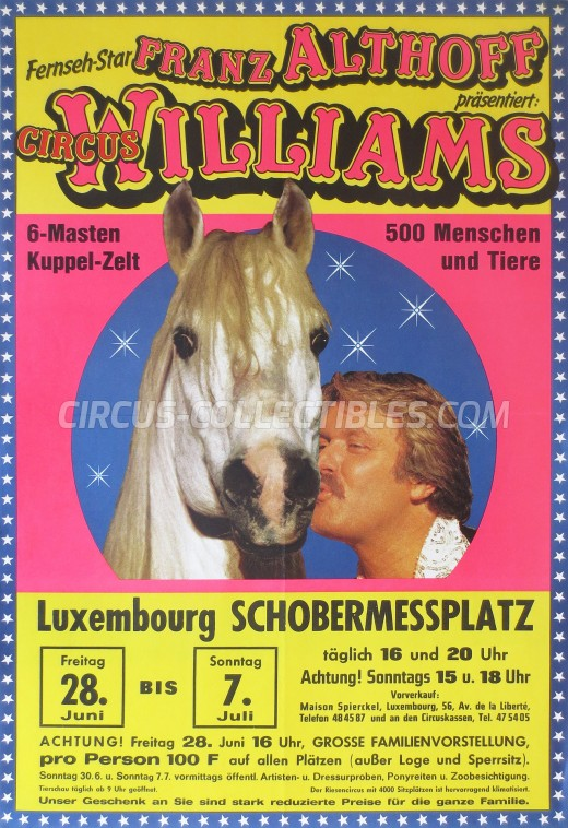 Althoff-Williams Circus Poster - Germany, 1985