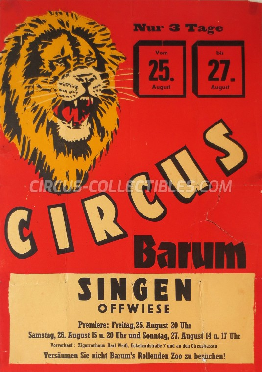 Barum Circus Poster - Germany, 1967