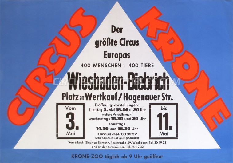 Krone Circus Poster - Germany, 1968