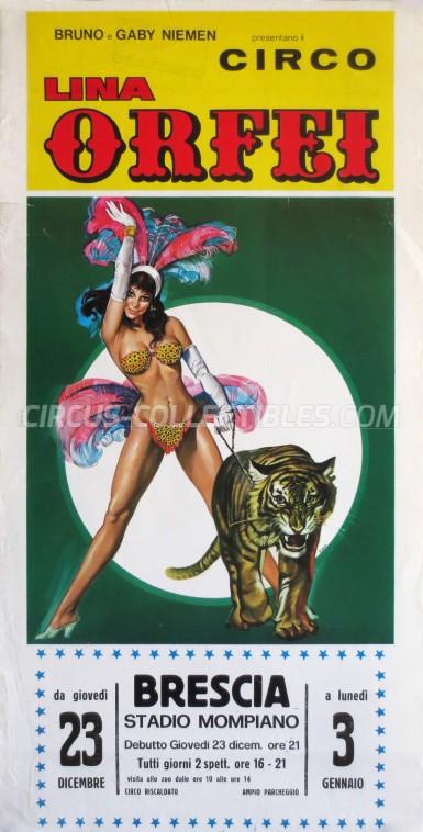 Lina Orfei Circus Poster - Italy, 1982