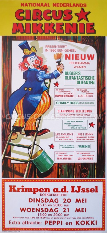 Mikkenie Circus Poster - Netherlands, 1980
