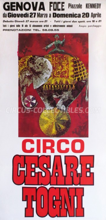 Cesare Togni Circus Poster - Italy, 1975