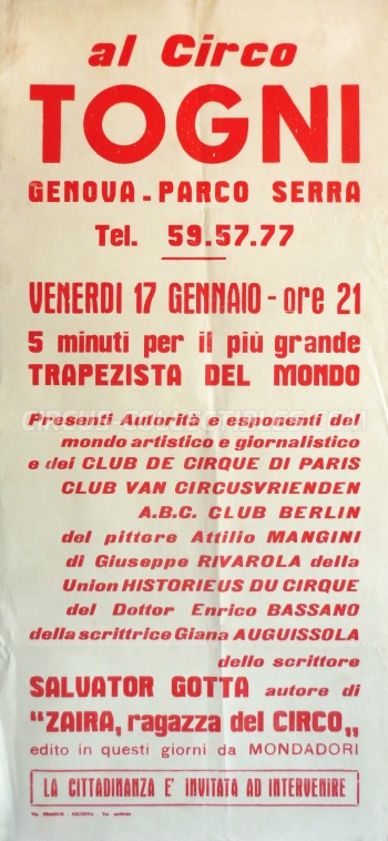 Togni Circus Poster - Italy, 1964