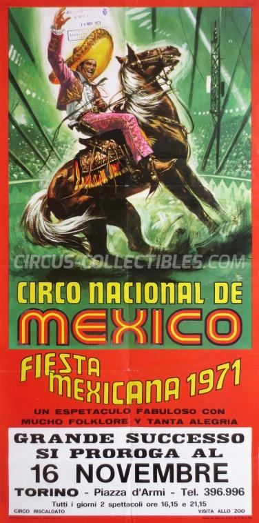 Circo Nacional de Mexico Circus Poster - Italy, 1971