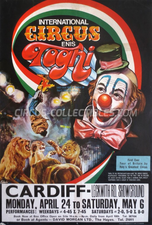 Enis Togni Circus Poster - Italy, 1972