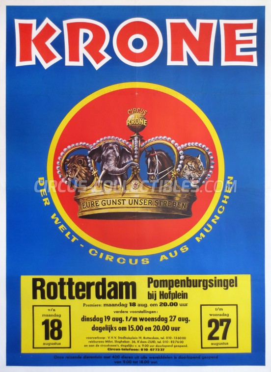 Krone Circus Poster - Germany, 1975