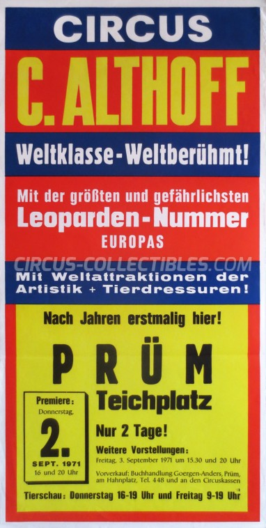 Carl Althoff Circus Poster - Germany, 1971