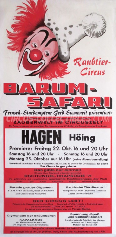 Barum Circus Poster - Germany, 1971