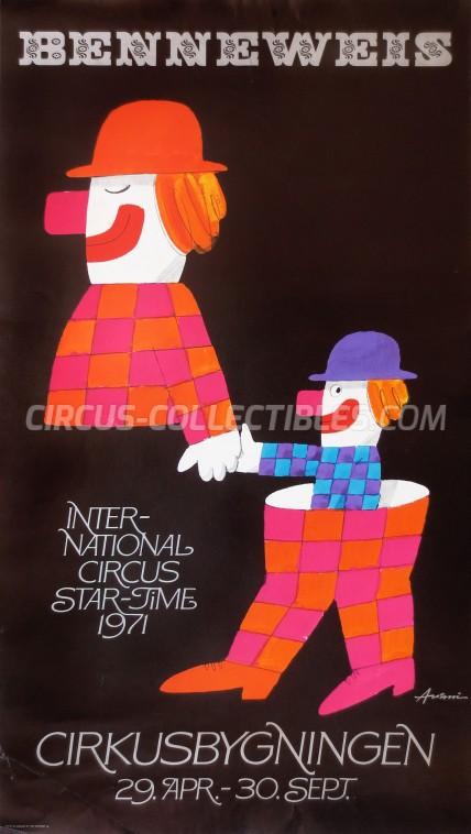 Benneweis Circus Poster - Denmark, 1971