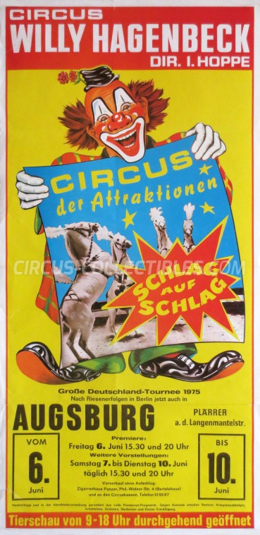 Willy Hagenbeck Circus Poster - Germany, 1975