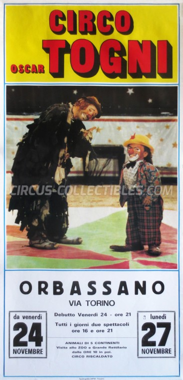 Oscar Togni Circus Poster - Italy, 1989