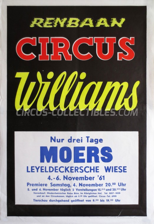 Williams Circus Poster - Germany, 1961