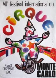 7e Festival International du Cirque de Monte-Carlo Circus poster - Monaco, 1980