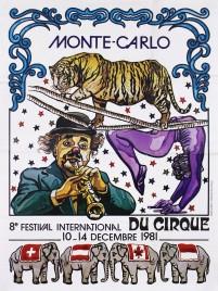 8e Festival International du Cirque de Monte-Carlo Circus poster - Monaco, 1981