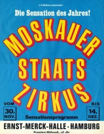 Moskauer Staats Zirkus Circus poster - Russia, 1977