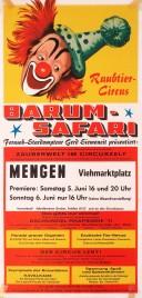 Circus Barum-Safari Circus poster - Germany, 1971