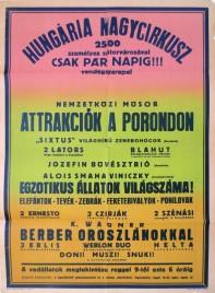 Hungaria Nagycircusz Circus poster - Hungary, 1960