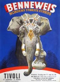 Cirkus Benneweis Circus poster - Denmark, 1963