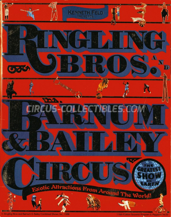 Ringling Bros. and Barnum & Bailey Circus Circus Program - USA, 1986